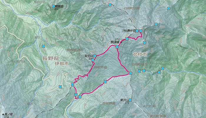 甲斐駒ヶ岳のコース