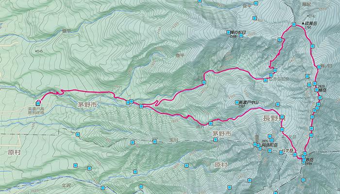 硫黄岳・赤岳のコース