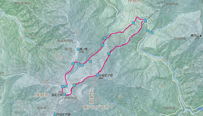 仙丈ヶ岳のコース