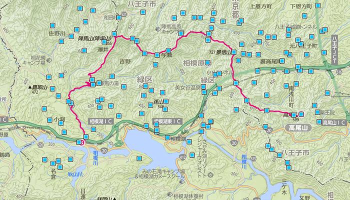 陣馬山〜高尾山(じんばさん〜たかおさん)のコース
